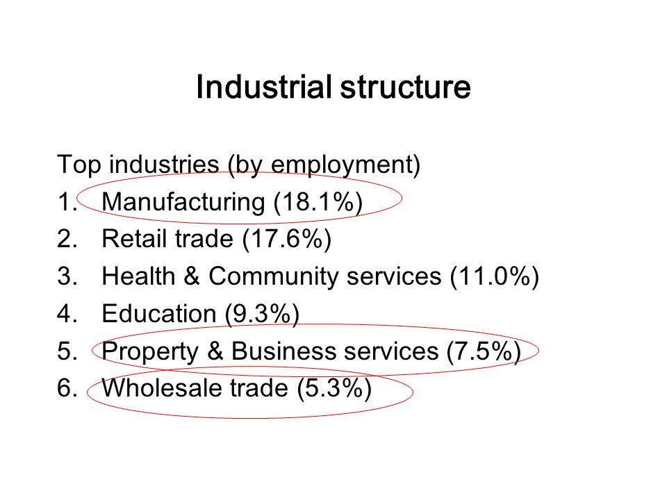 Industrial structure Top industries (by employment) 1.Manufacturing (18.1%) 2.Retail trade (17.6%) 3.Health & Community services (11.0%) 4.Education (9.3%) 5.Property & Business services (7.5%) 6.Wholesale trade (5.3%)