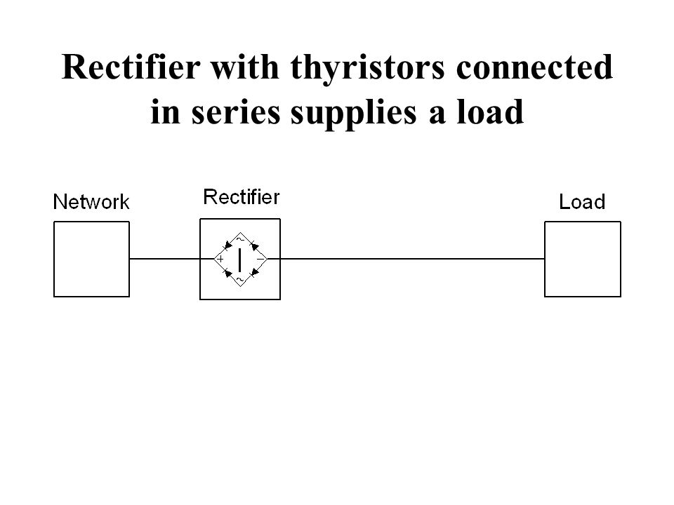 Rectifier with thyristors connected in series supplies a load