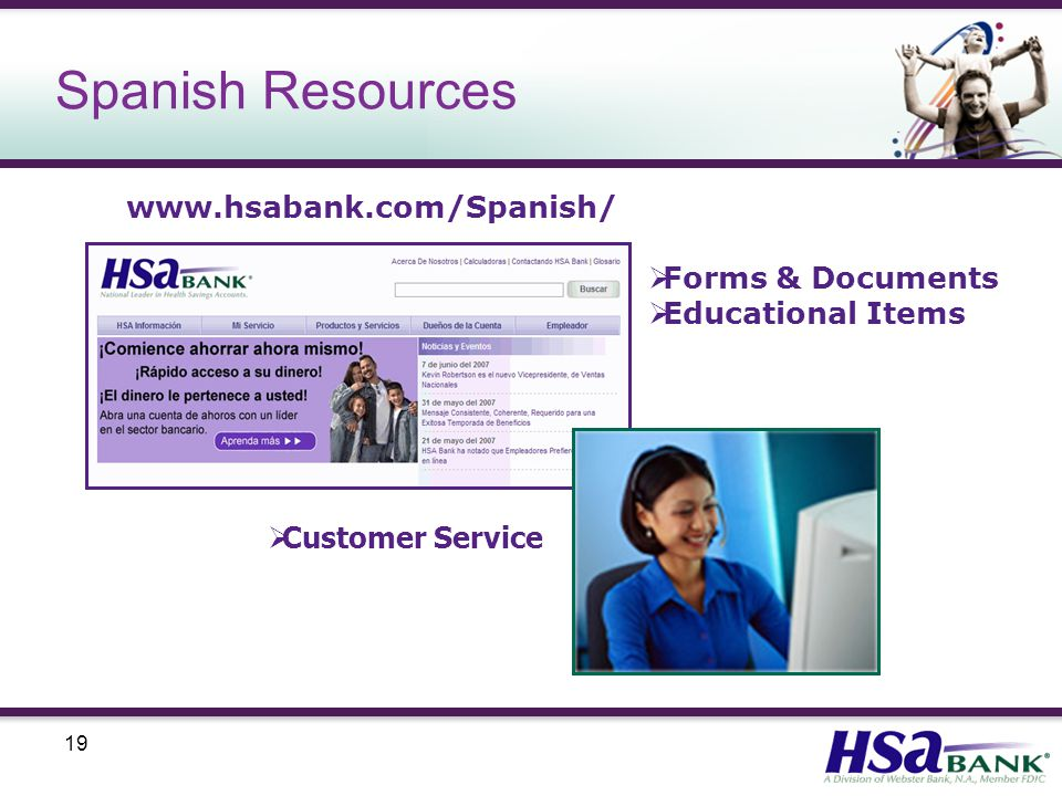 19 Spanish Resources  Forms & Documents  Educational Items  Customer Service