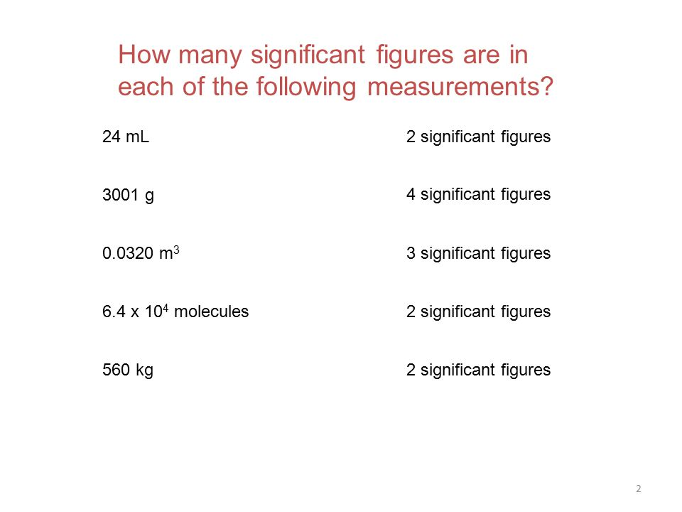 2 How many significant figures are in each of the following measurements.