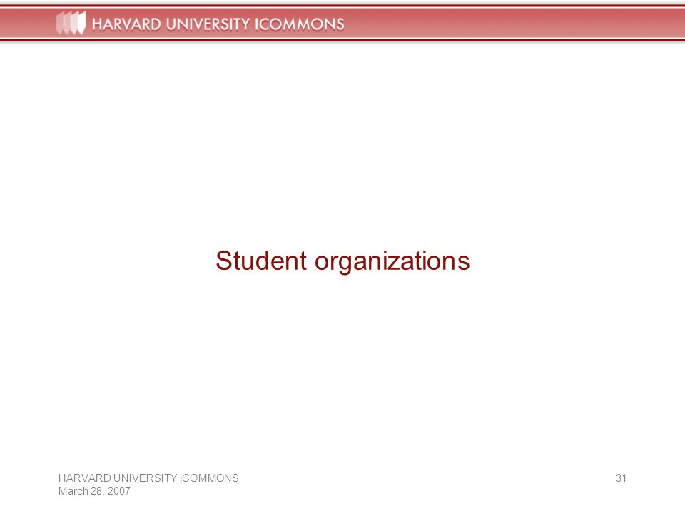 HARVARD UNIVERSITY iCOMMONS March 28, Student organizations