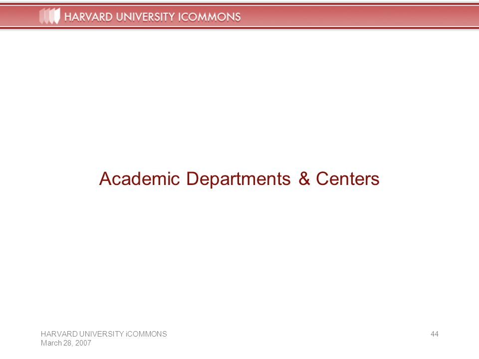 HARVARD UNIVERSITY iCOMMONS March 28, Academic Departments & Centers