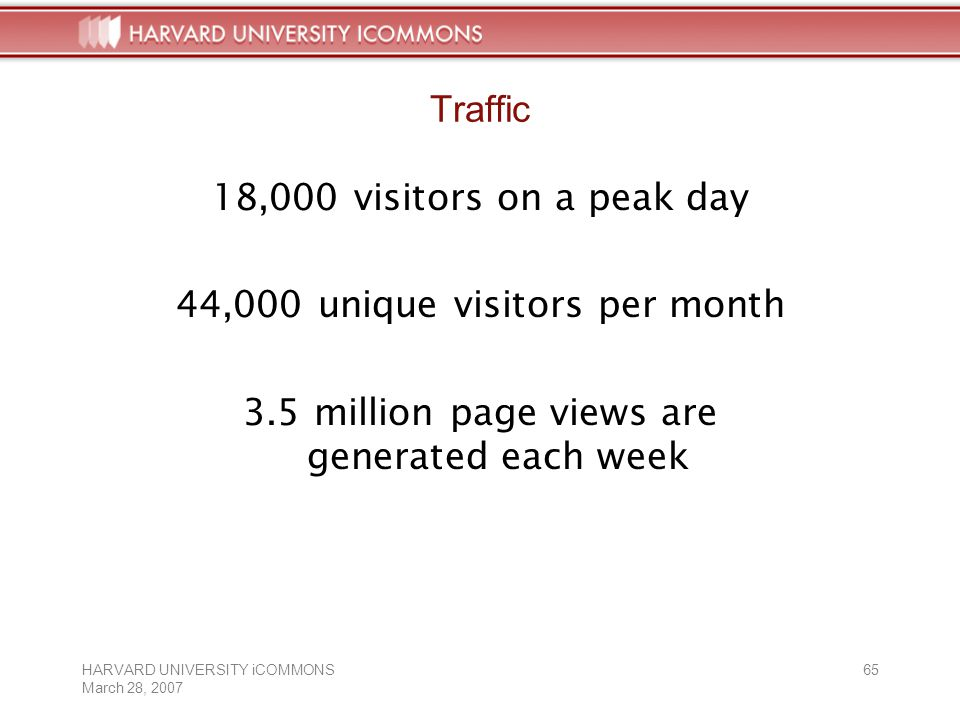HARVARD UNIVERSITY iCOMMONS March 28, Traffic 18,000 visitors on a peak day 44,000 unique visitors per month 3.5 million page views are generated each week