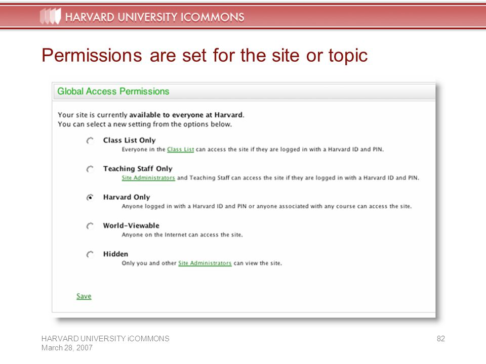 HARVARD UNIVERSITY iCOMMONS March 28, Permissions are set for the site or topic