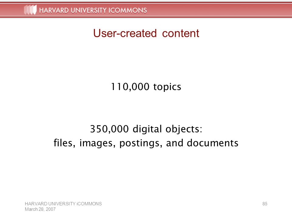HARVARD UNIVERSITY iCOMMONS March 28, User-created content 110,000 topics 350,000 digital objects: files, images, postings, and documents