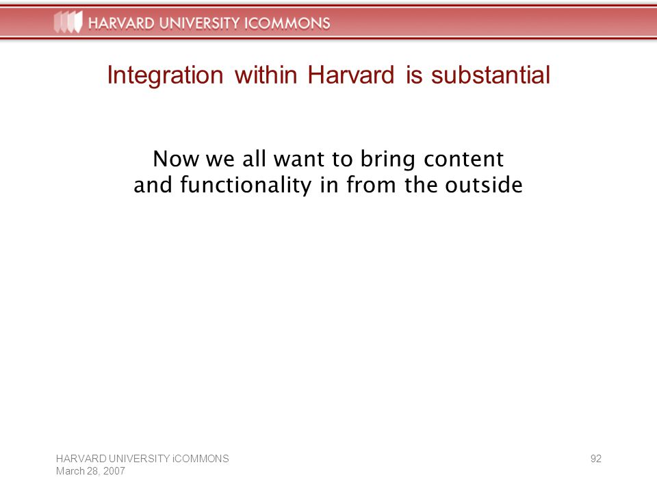 HARVARD UNIVERSITY iCOMMONS March 28, Integration within Harvard is substantial Now we all want to bring content and functionality in from the outside