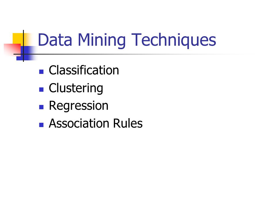 Data Mining Techniques Classification Clustering Regression Association Rules
