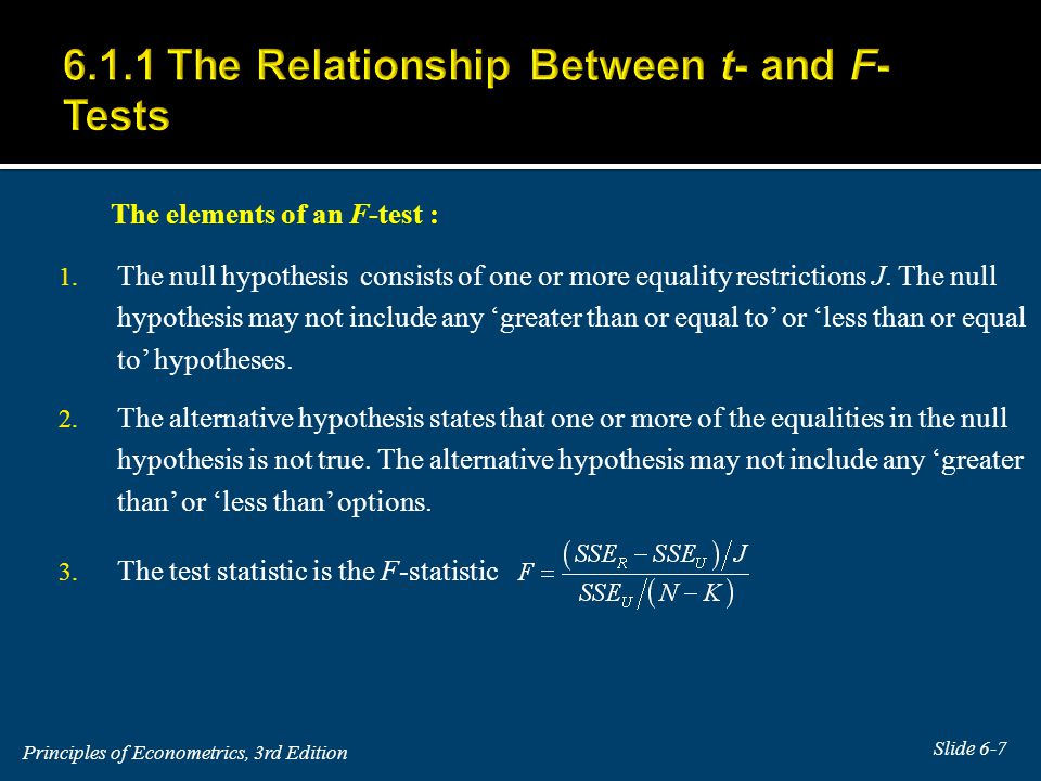 The elements of an F-test : 1. The null hypothesis consists of one or more equality restrictions J.