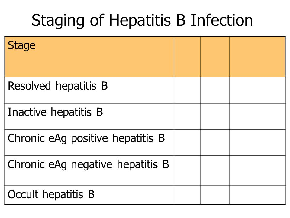 Staging of Hepatitis B Infection Stage Resolved hepatitis B Inactive hepatitis B Chronic eAg positive hepatitis B Chronic eAg negative hepatitis B Occult hepatitis B