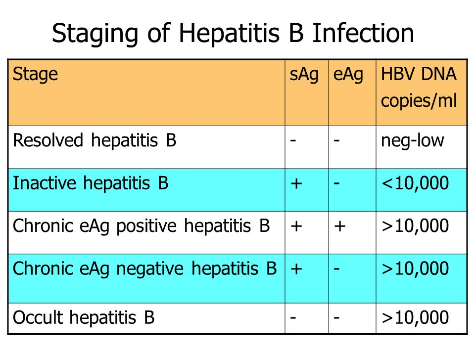 Staging of Hepatitis B Infection StagesAgeAgHBV DNA copies/ml Resolved hepatitis B--neg-low Inactive hepatitis B+-<10,000 Chronic eAg positive hepatitis B++>10,000 Chronic eAg negative hepatitis B+->10,000 Occult hepatitis B-->10,000