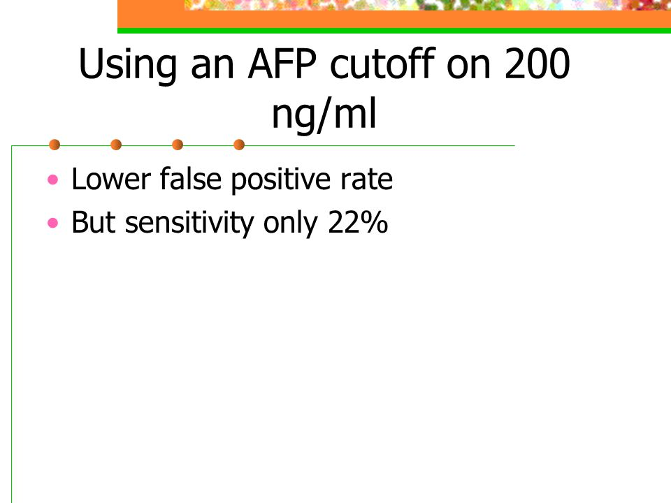 Using an AFP cutoff on 200 ng/ml Lower false positive rate But sensitivity only 22%