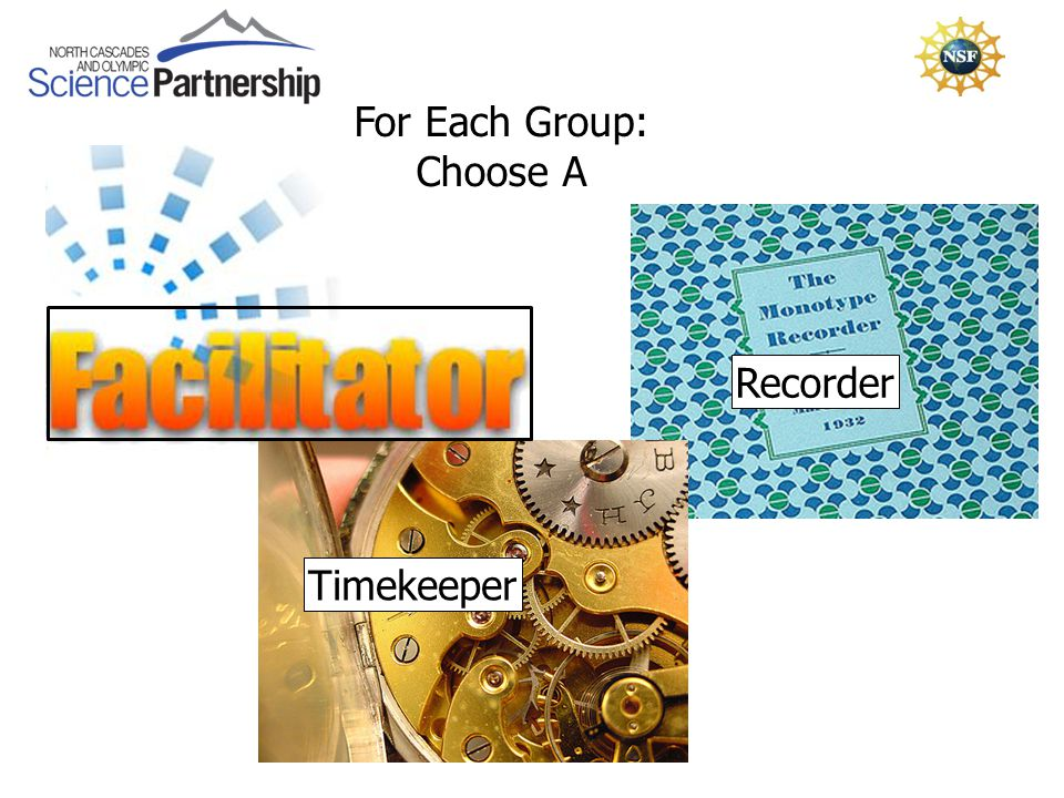For Each Group: Choose A Timekeeper Recorder