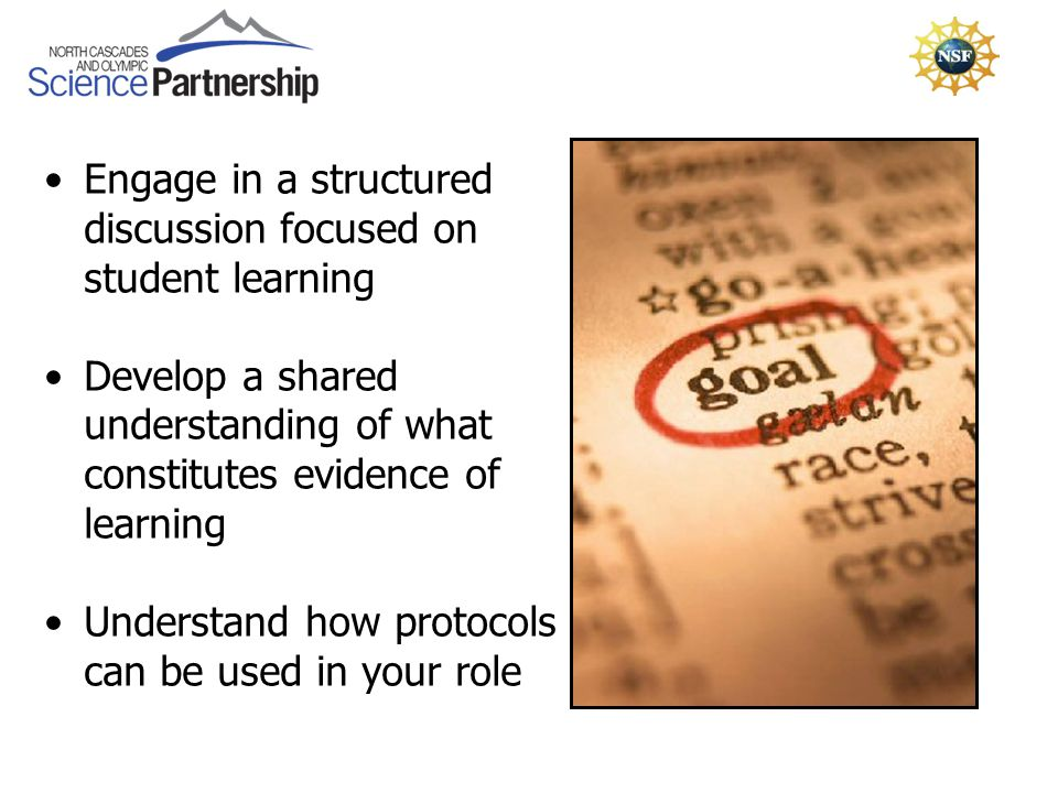 Engage in a structured discussion focused on student learning Develop a shared understanding of what constitutes evidence of learning Understand how protocols can be used in your role