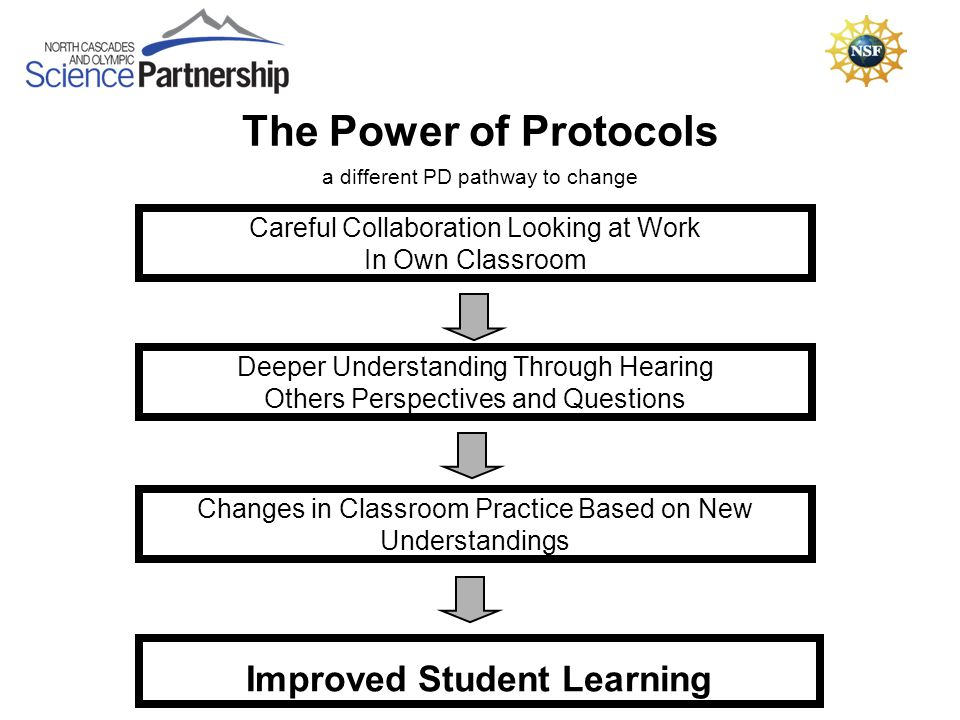 The Power of Protocols Careful Collaboration Looking at Work In Own Classroom Deeper Understanding Through Hearing Others Perspectives and Questions Changes in Classroom Practice Based on New Understandings Improved Student Learning a different PD pathway to change