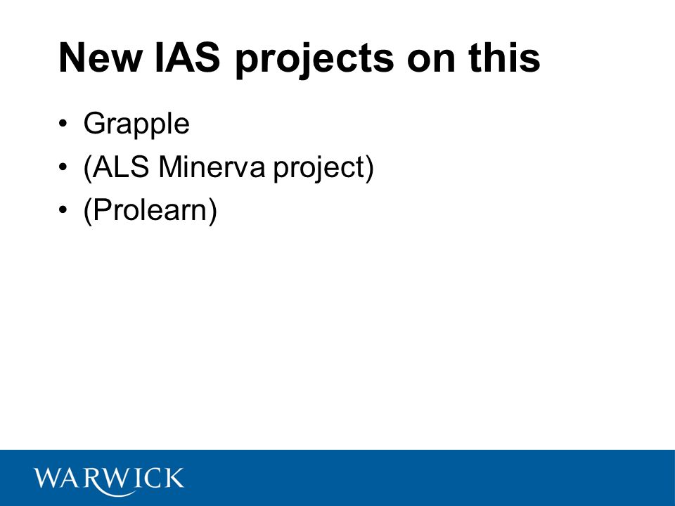 New IAS projects on this Grapple (ALS Minerva project) (Prolearn)