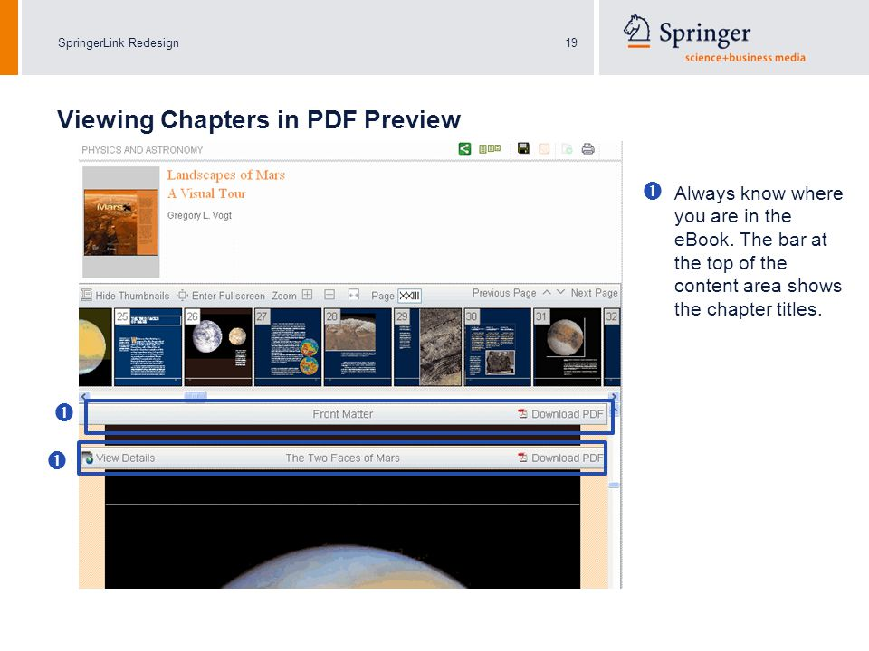 SpringerLink Redesign19 Always know where you are in the eBook.