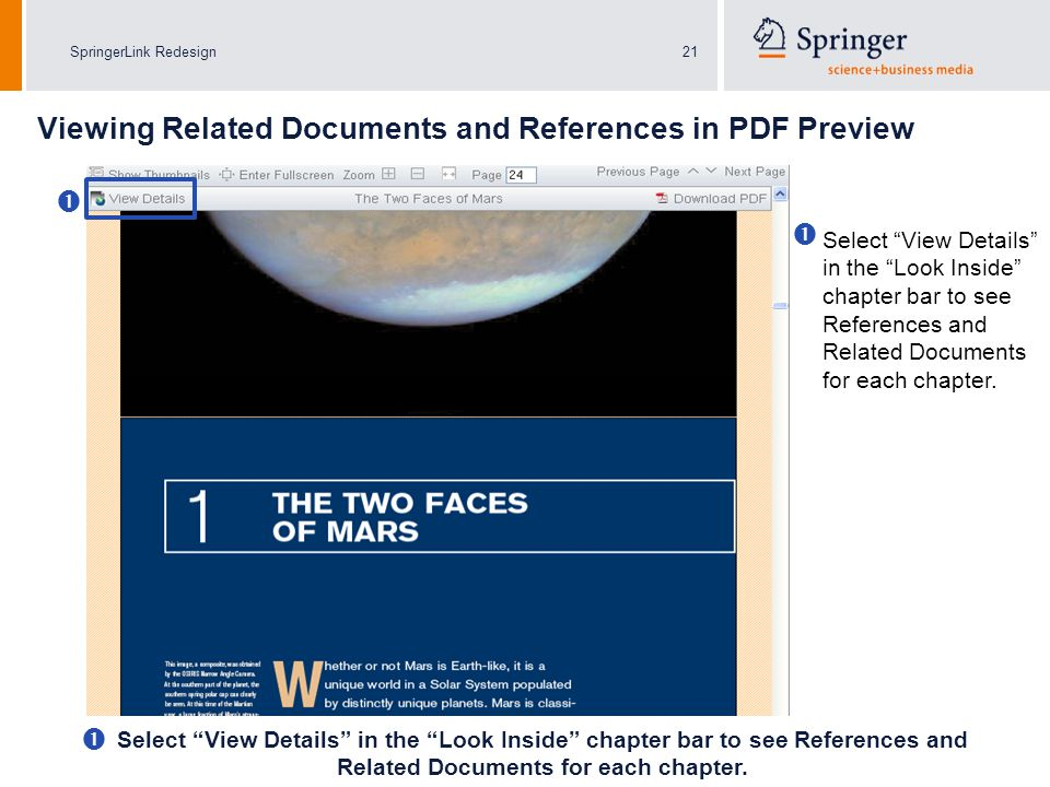 SpringerLink Redesign21   Select View Details in the Look Inside chapter bar to see References and Related Documents for each chapter.