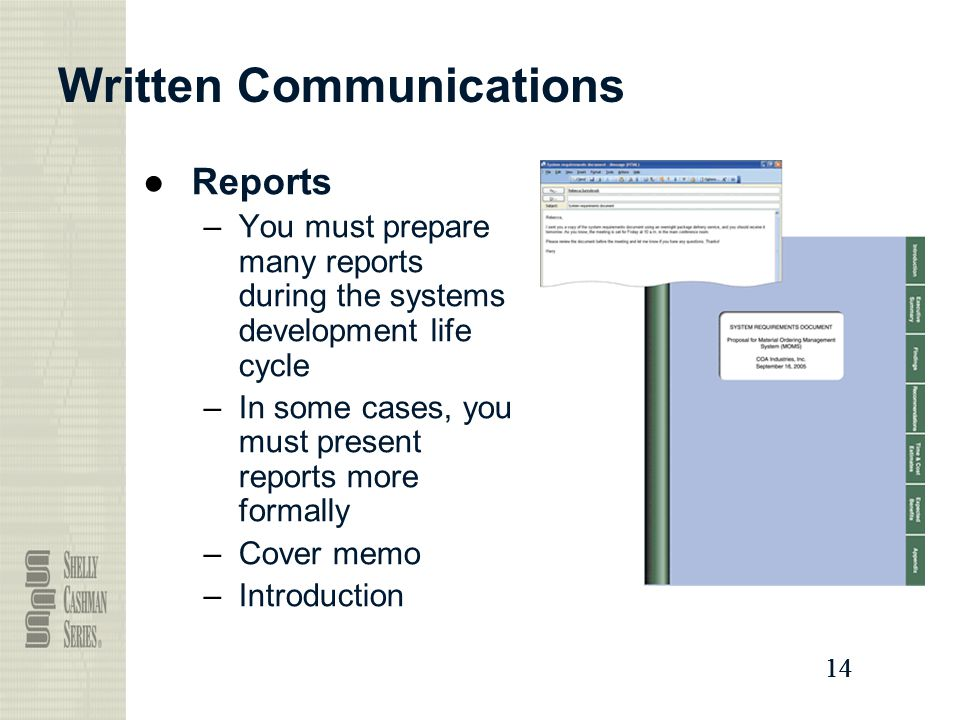 14 Written Communications ●Reports –You must prepare many reports during the systems development life cycle –In some cases, you must present reports more formally –Cover memo –Introduction