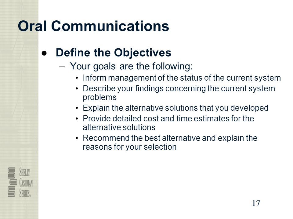 17 Oral Communications ●Define the Objectives –Your goals are the following: Inform management of the status of the current system Describe your findings concerning the current system problems Explain the alternative solutions that you developed Provide detailed cost and time estimates for the alternative solutions Recommend the best alternative and explain the reasons for your selection