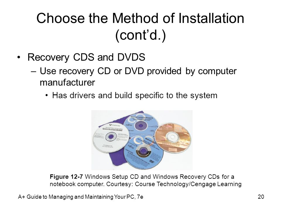 Choose the Method of Installation (cont'd.) Recovery CDS and DVDS –Use recovery CD or DVD provided by computer manufacturer Has drivers and build specific to the system A+ Guide to Managing and Maintaining Your PC, 7e20 Figure 12-7 Windows Setup CD and Windows Recovery CDs for a notebook computer.