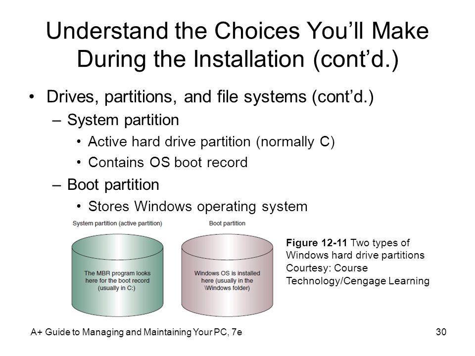 Understand the Choices You'll Make During the Installation (cont'd.) Drives, partitions, and file systems (cont'd.) –System partition Active hard drive partition (normally C) Contains OS boot record –Boot partition Stores Windows operating system A+ Guide to Managing and Maintaining Your PC, 7e30 Figure Two types of Windows hard drive partitions Courtesy: Course Technology/Cengage Learning