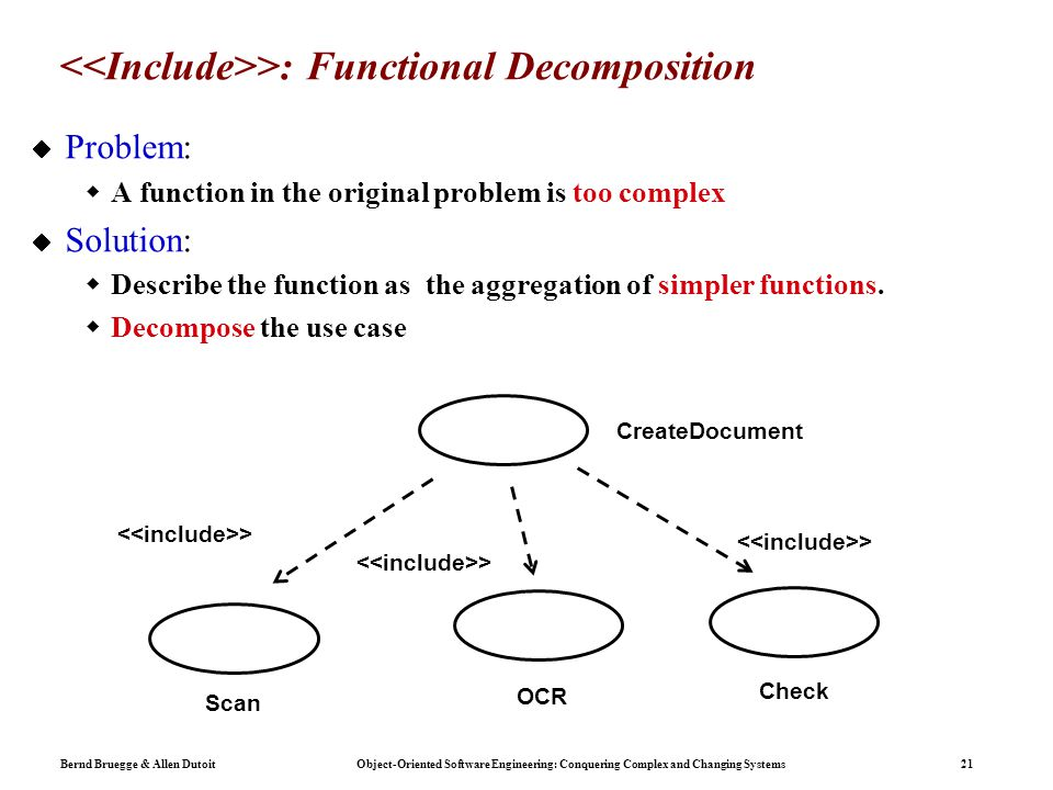 Bernd Bruegge & Allen Dutoit Object-Oriented Software Engineering: Conquering Complex and Changing Systems 21 >: Functional Decomposition  Problem:  A function in the original problem is too complex  Solution:  Describe the function as the aggregation of simpler functions.