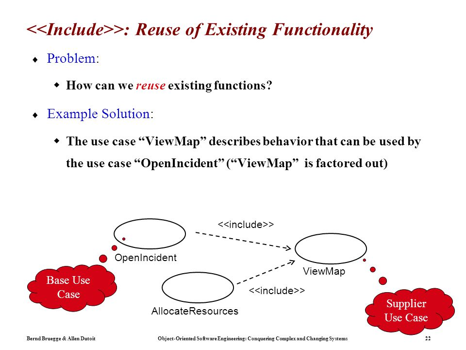Bernd Bruegge & Allen Dutoit Object-Oriented Software Engineering: Conquering Complex and Changing Systems 22 >: Reuse of Existing Functionality  Problem:  How can we reuse existing functions.