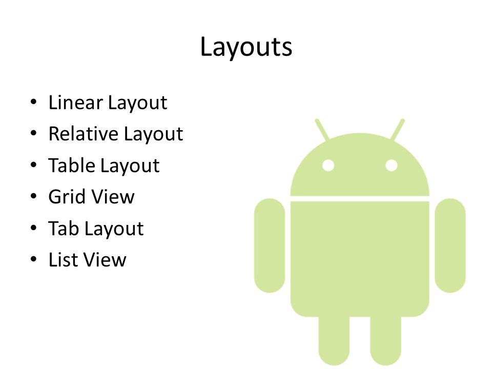 More on User Interface Android Applications  Layouts Linear