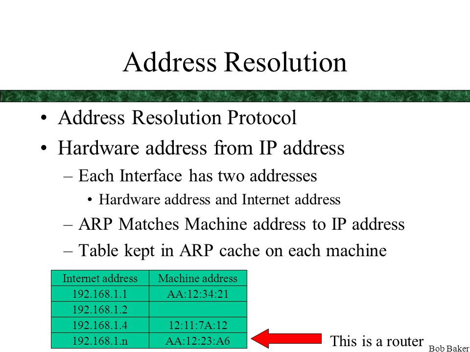 Bob Baker Internet Protocol IP Operates at the Network Layer (3) Packages up data into packets Each packet has a source IP address and a destination IP address Packet passed to Data Link layer where machine address is determined Packaged into a frame at Physical level