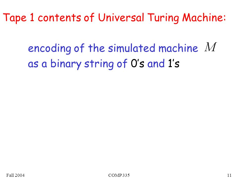 Fall 2004COMP Tape 1 contents of Universal Turing Machine: encoding of the simulated machine as a binary string of 0's and 1's