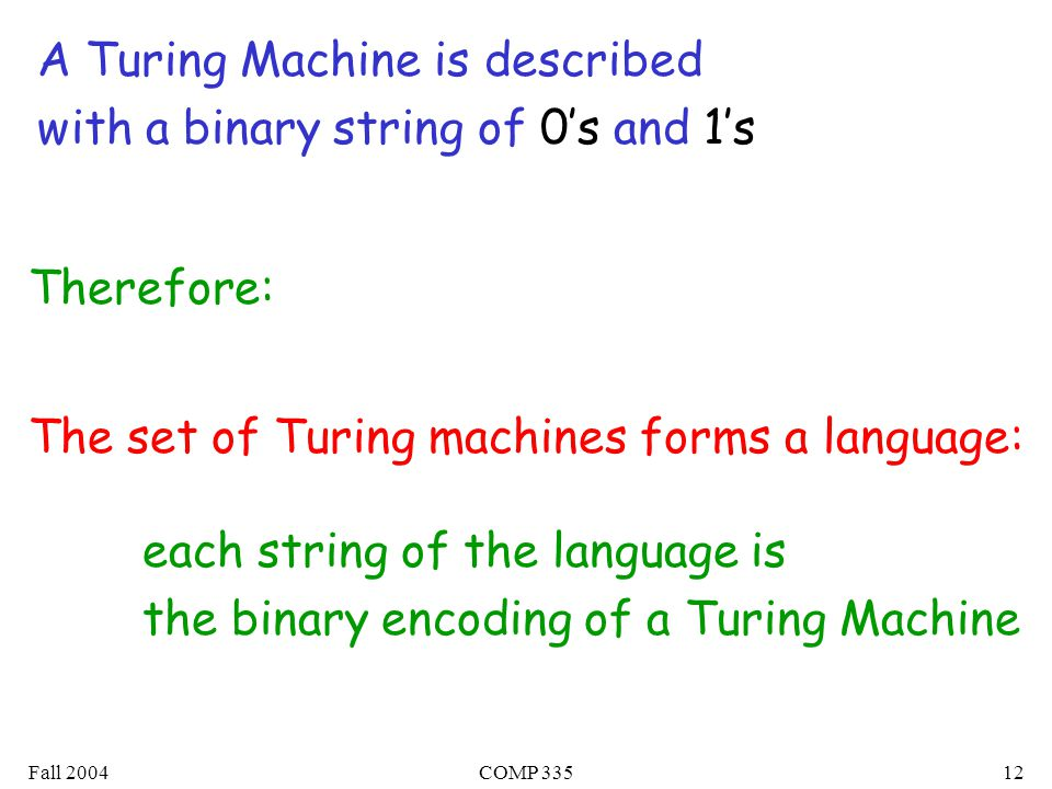 Fall 2004COMP A Turing Machine is described with a binary string of 0's and 1's The set of Turing machines forms a language: each string of the language is the binary encoding of a Turing Machine Therefore: