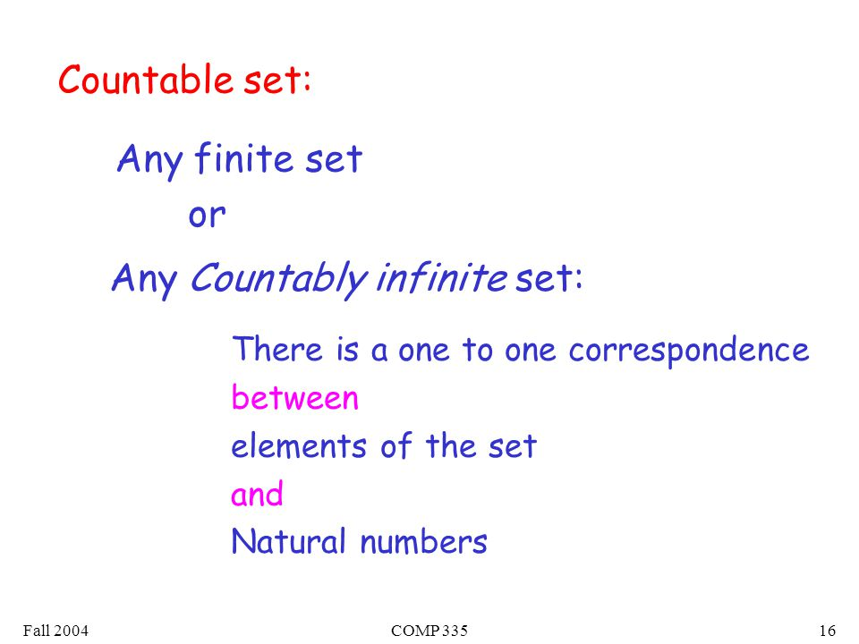 Fall 2004COMP Countable set: There is a one to one correspondence between elements of the set and Natural numbers Any finite set Any Countably infinite set: or
