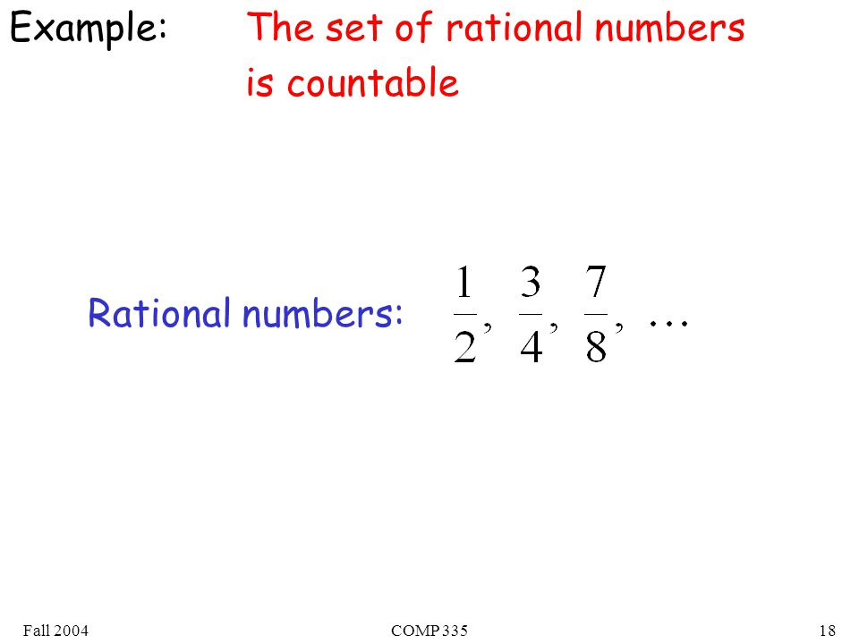 Fall 2004COMP Example:The set of rational numbers is countable Rational numbers: