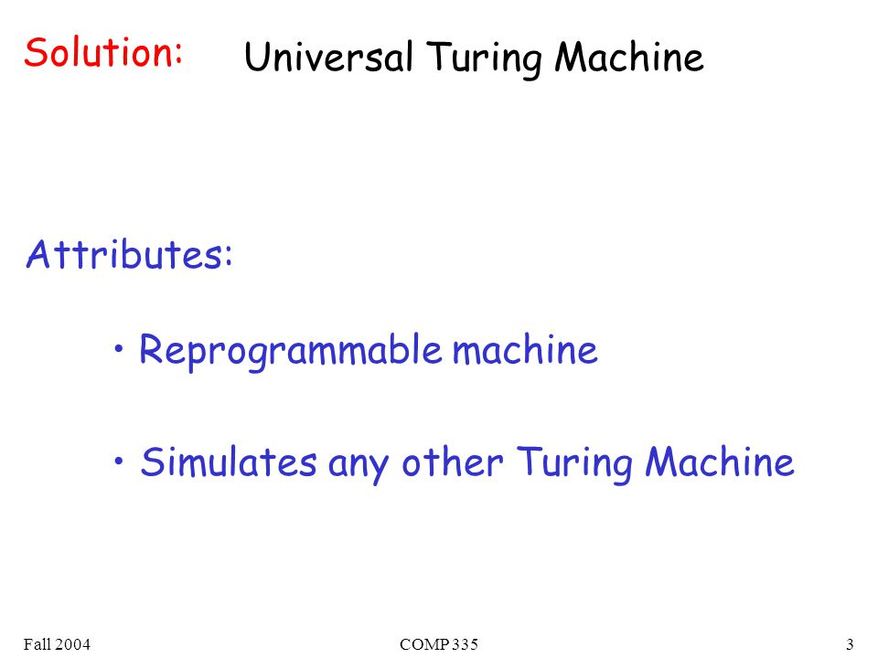 Fall 2004COMP 3353 Solution: Universal Turing Machine Reprogrammable machine Simulates any other Turing Machine Attributes: