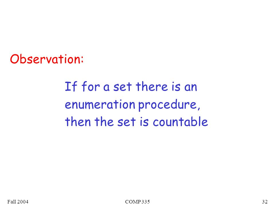 Fall 2004COMP If for a set there is an enumeration procedure, then the set is countable Observation: