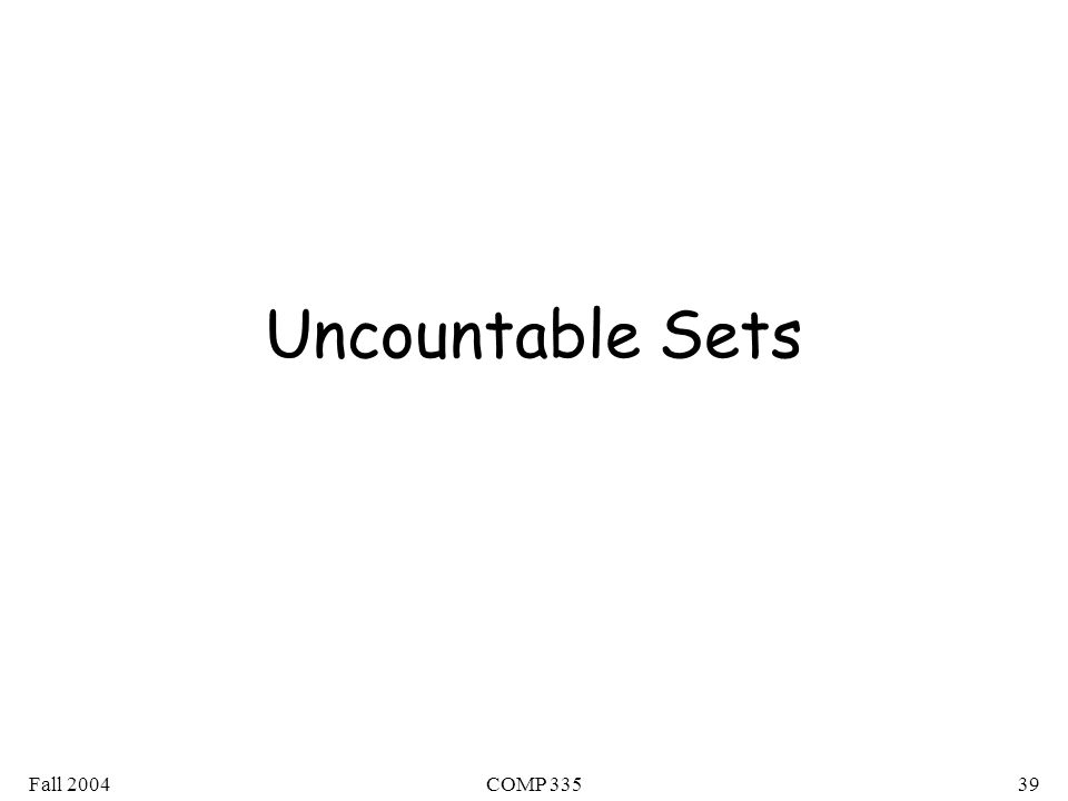 Fall 2004COMP Uncountable Sets
