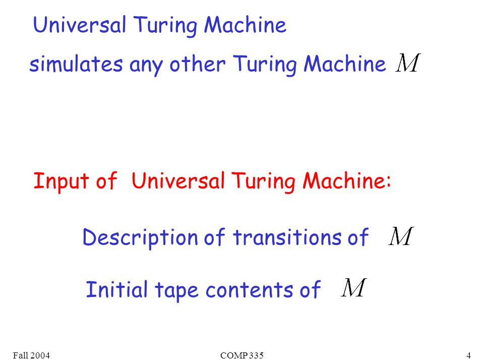 Fall 2004COMP 3354 Universal Turing Machine simulates any other Turing Machine Input of Universal Turing Machine: Description of transitions of Initial tape contents of