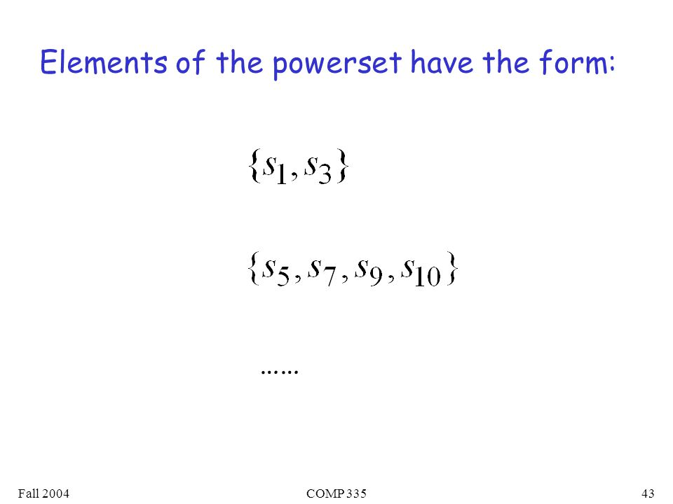 Fall 2004COMP Elements of the powerset have the form: ……