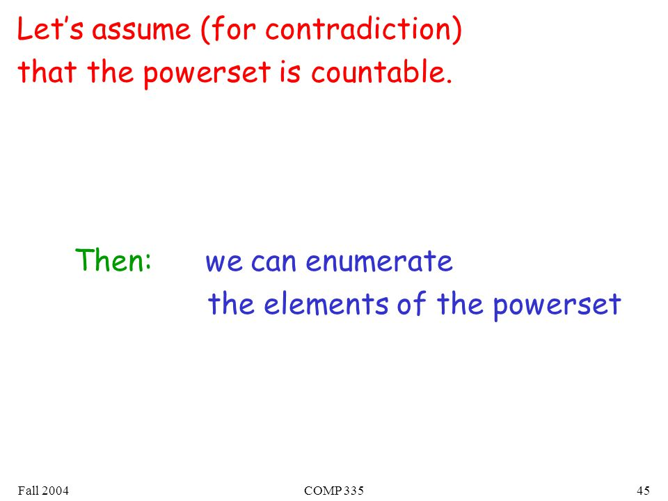 Fall 2004COMP Let's assume (for contradiction) that the powerset is countable.
