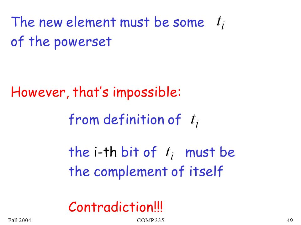 Fall 2004COMP The new element must be some of the powerset However, that's impossible: the i-th bit of must be the complement of itself from definition of Contradiction!!!
