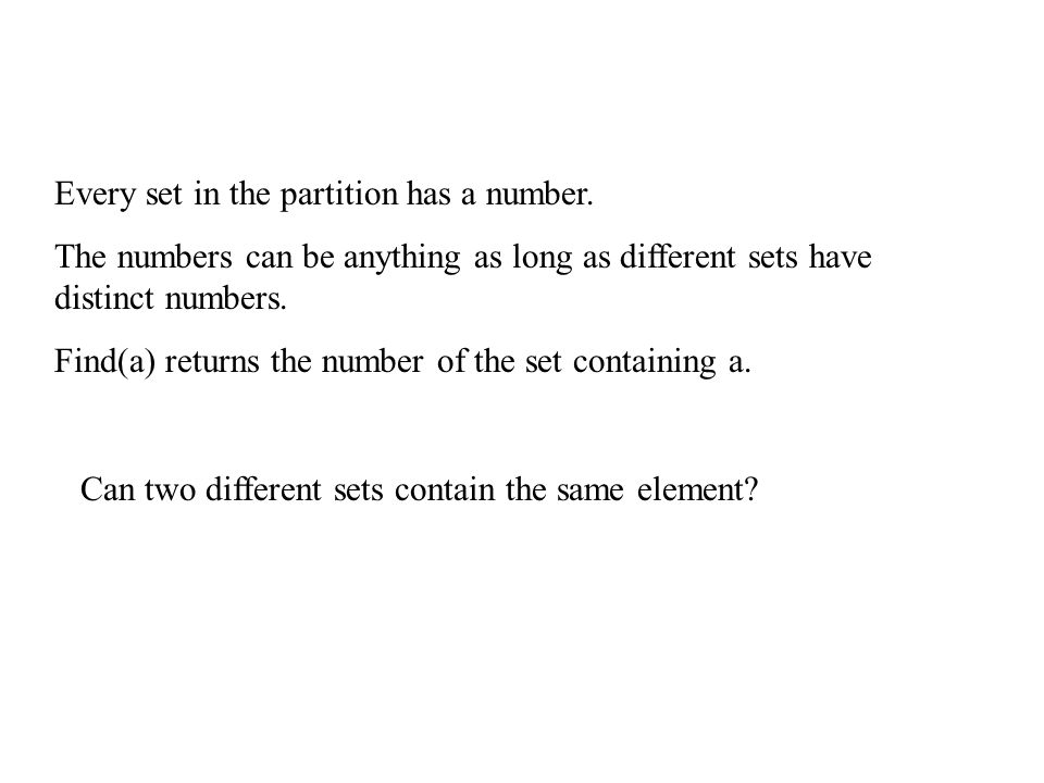 Every set in the partition has a number.