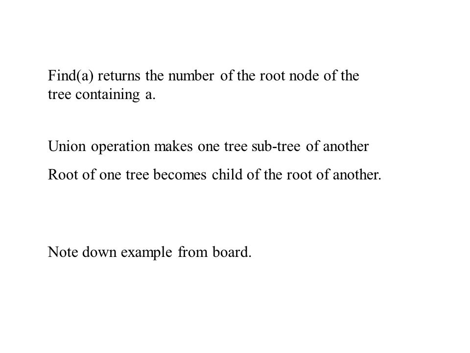 Find(a) returns the number of the root node of the tree containing a.
