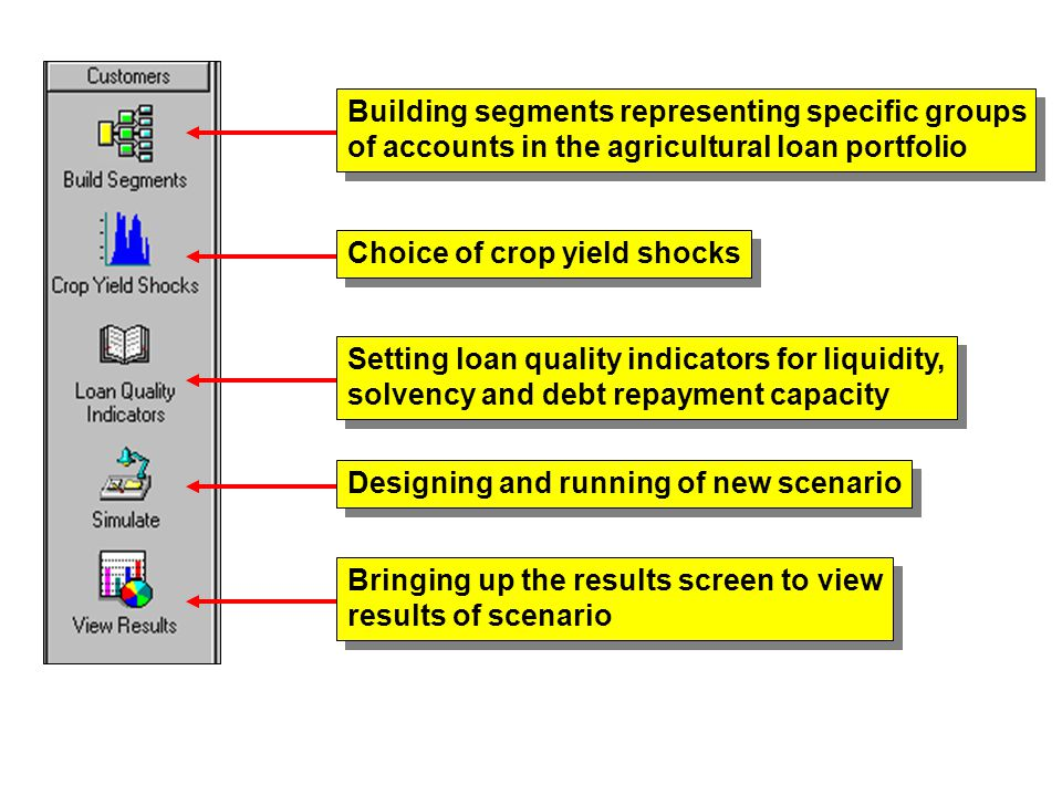 Building segments representing specific groups of accounts in the agricultural loan portfolio Building segments representing specific groups of accounts in the agricultural loan portfolio Choice of crop yield shocks Setting loan quality indicators for liquidity, solvency and debt repayment capacity Setting loan quality indicators for liquidity, solvency and debt repayment capacity Designing and running of new scenario Bringing up the results screen to view results of scenario Bringing up the results screen to view results of scenario