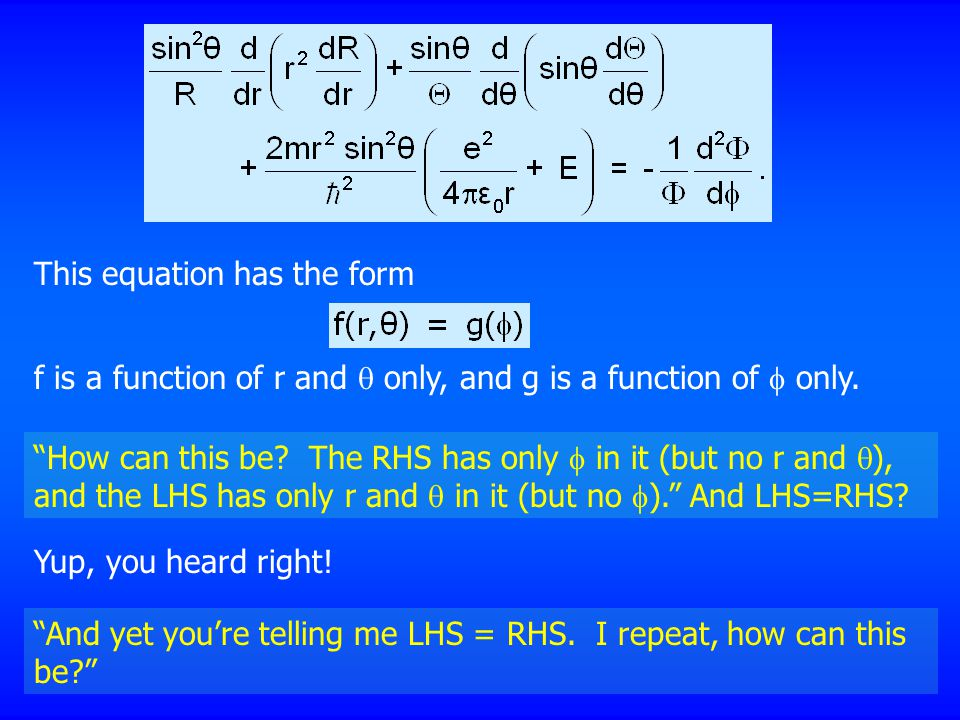 This equation has the form f is a function of r and  only, and g is a function of  only.