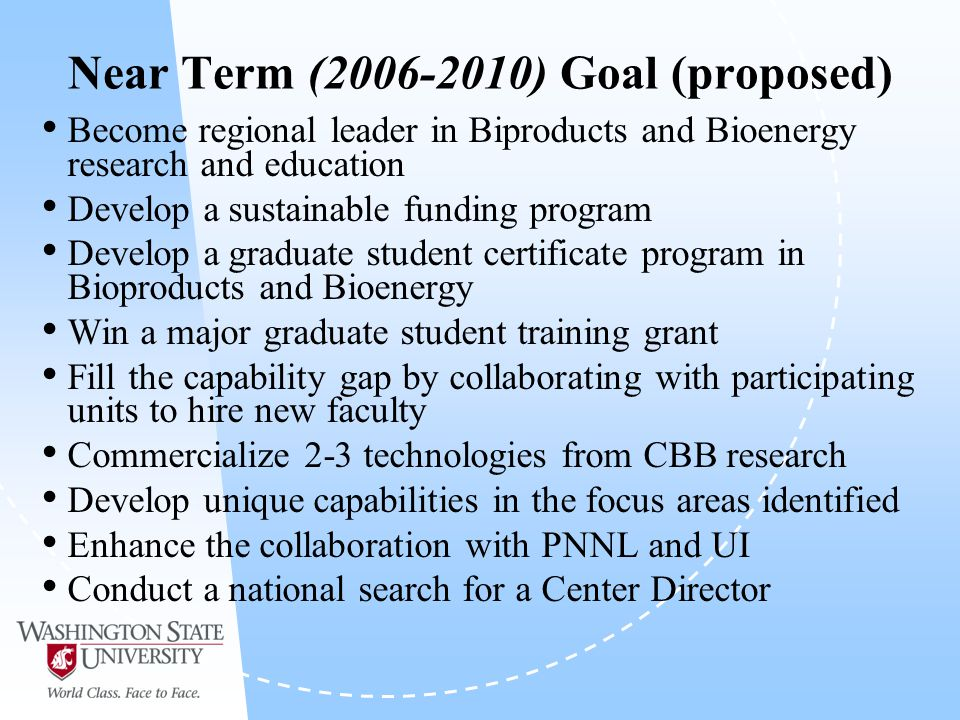 Near Term ( ) Goal (proposed) Become regional leader in Biproducts and Bioenergy research and education Develop a sustainable funding program Develop a graduate student certificate program in Bioproducts and Bioenergy Win a major graduate student training grant Fill the capability gap by collaborating with participating units to hire new faculty Commercialize 2-3 technologies from CBB research Develop unique capabilities in the focus areas identified Enhance the collaboration with PNNL and UI Conduct a national search for a Center Director