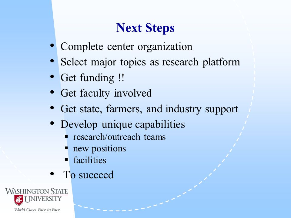 Next Steps Complete center organization Select major topics as research platform Get funding !.