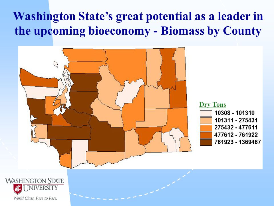 Washington State's great potential as a leader in the upcoming bioeconomy - Biomass by County Dry Tons