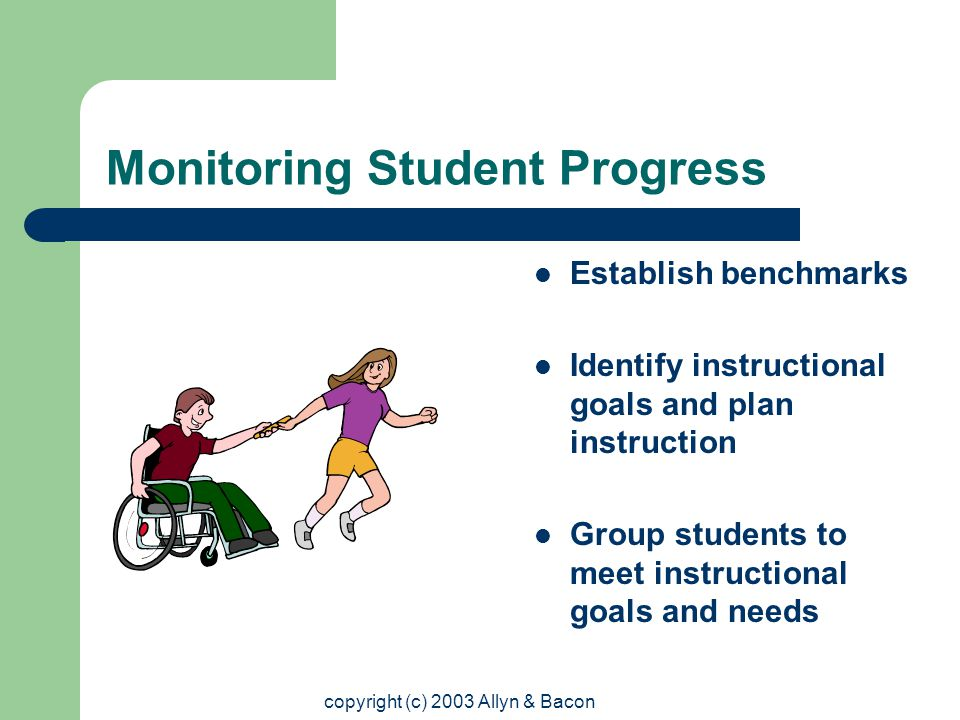 copyright (c) 2003 Allyn & Bacon Monitoring Student Progress Establish benchmarks Identify instructional goals and plan instruction Group students to meet instructional goals and needs