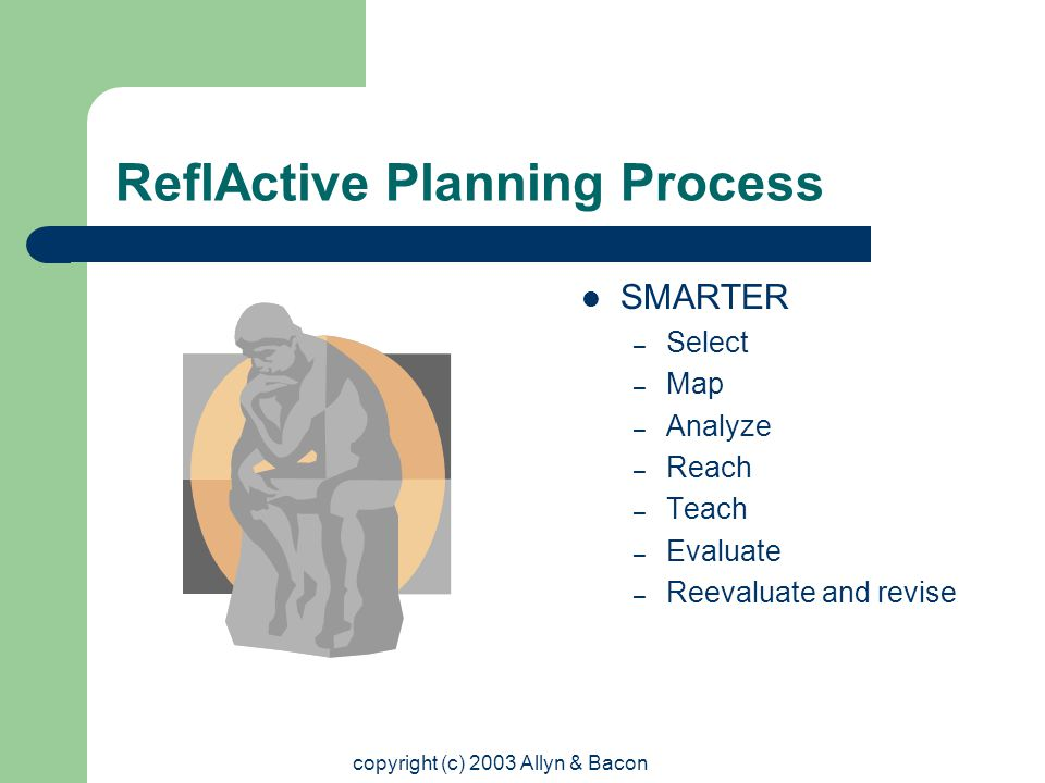 copyright (c) 2003 Allyn & Bacon ReflActive Planning Process SMARTER – Select – Map – Analyze – Reach – Teach – Evaluate – Reevaluate and revise