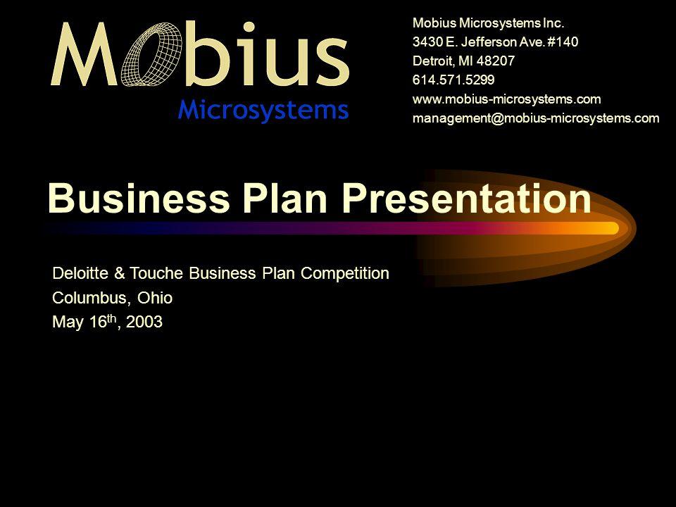 Business Plan Presentation Mobius Microsystems Inc E Jefferson Ave